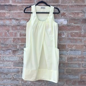 COS Cotton Dress Chartreuse Yellow Pleated Shift